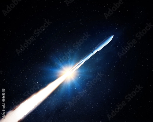 Flying space rocket in the night starry sky. Space exploration background. Elements of this image furnished by NASA. - 195653415