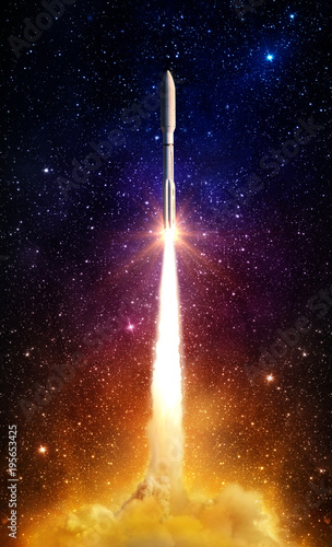 Flying space rocket in the night starry sky. Space exploration background. Elements of this image furnished by NASA. - 195653425
