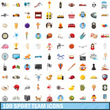 100 sport team icons set, cartoon style