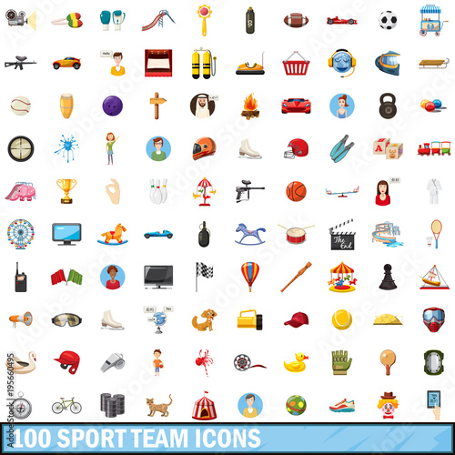100 sport team icons set, cartoon style