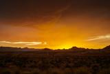 colorful golden sunset over nevada desert