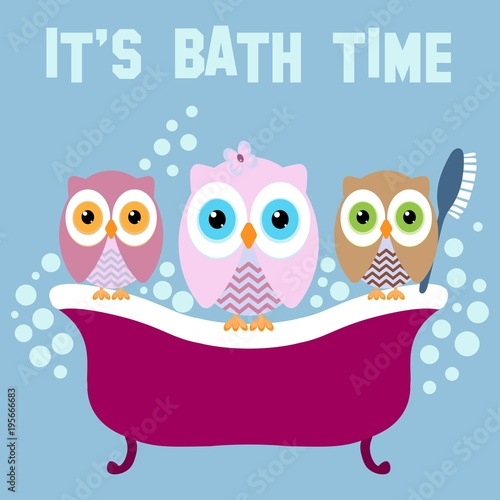 Fotobehang Uilen cartoon Owls on a bath with text IT'S BATH TIME