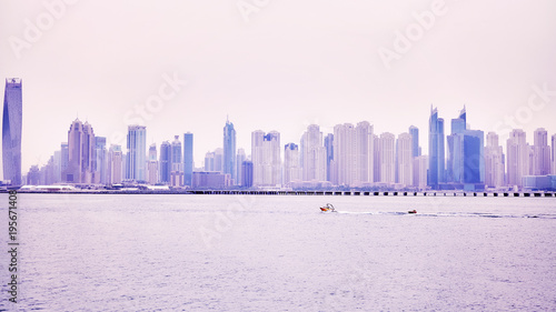Foto op Aluminium Dubai Panoramic picture of Dubai waterfront skyline, color toned picture, United Arab Emirates.