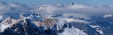 Panorama of mountains in winter