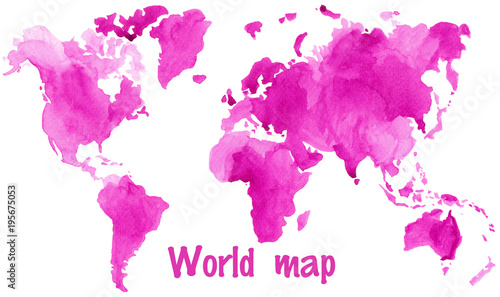 Watercolor illustration of world global map painted in purple ink - 195675053