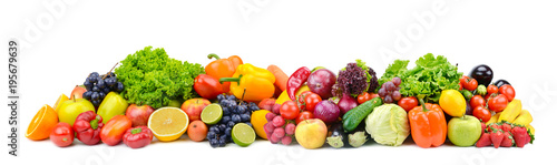 Foto op Aluminium Verse groenten Panorama bright vegetables and fruits isolated on white