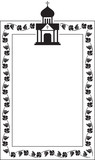 Black and white floral frame with abstract christian temple.  - 195682867