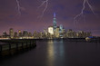lightning falling on the city of New York at night