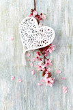 Spring Blossom and heart over wooden background - 195683832