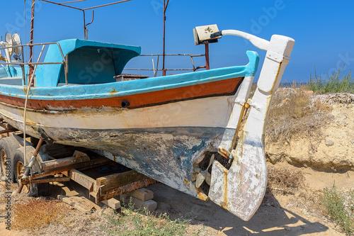 Fotobehang Cyprus Old Greek fishing boat
