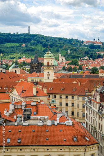 In de dag Praag Bird's eye view of the city of Prague with overcast sky seen from the Old Town Hall Tower, also known as the Clock Tower