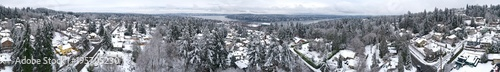 Foto op Canvas Panoramafoto s 360 Panoramic View Newcastle Washington Snowy Day