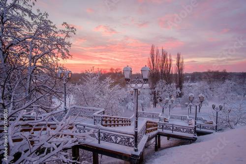 Fotobehang Lavendel Winter sunrise aftef snowfall