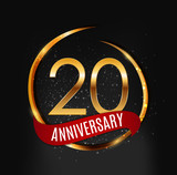 Template Gold Logo 20 Years Anniversary with Red Ribbon Vector Illustration