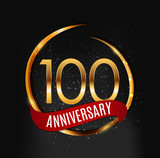 Template Gold Logo 100 Years Anniversary with Red Ribbon Vector Illustration - 195707648
