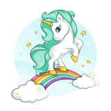 Little Pony Cute Magical Unicorn And Rainbow  Design    Print For Tshirt Or Sticker Romantic Hand Drawing Illustration For Children Wall Sticker