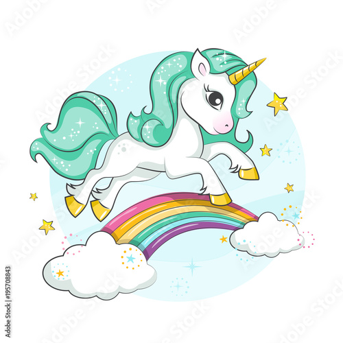 Wall mural Little pony. Cute magical unicorn and rainbow. Vector design isolated on white background. Print for t-shirt or sticker. Romantic hand drawing illustration for children.