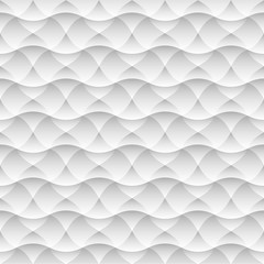 Geometric white seamless pattern background of abstract waves