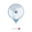 Map pin with detailed map of Cambodia and neighboring countries.