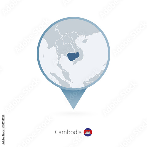 Fototapeta Map pin with detailed map of Cambodia and neighboring countries.