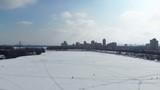 Winter Kiev, view of the Dnieper, river, ice, clouds, houses, snow, bridge, water. Ukraine - 195714813