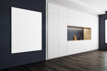 Modern kitchen with blank poster