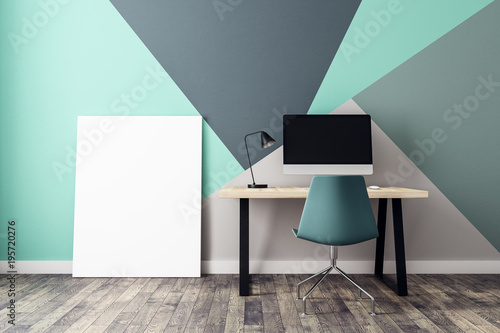 Foto Murales Interior with poster and workplace