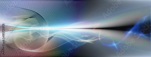 Staande foto Abstract wave linien raum horizont bewegung farben