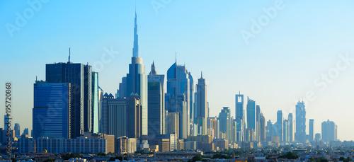 Panoramic view of skyscrapers of Dubai World Trade center