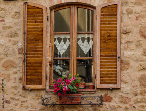 The window with flowers and wooden shutters