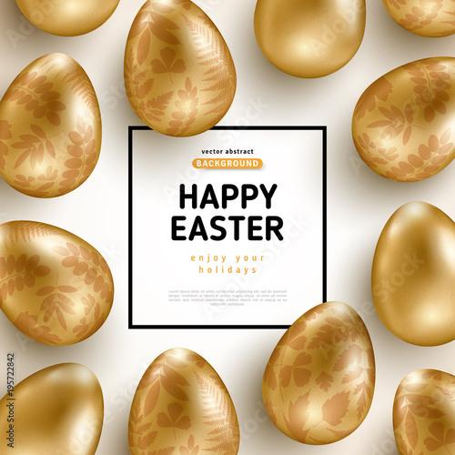 Wielkanocna karta z ramą i złocistymi ozdobnymi jajkami