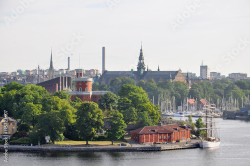 Deurstickers Stockholm Cityscape of Stockholm. Panorama view of historical part of Stockholm in Sweden
