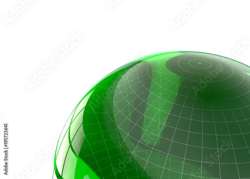 Abstract futuristic background green glass geometric shapes. Isolated background © injenerker