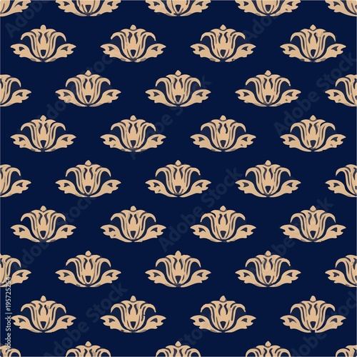 Floral background with golden blue seamless pattern - Illustration Bouquet, Flower, Flowerbed, Palm Tree, Plant - 195725254
