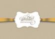 Vintage invitation design with gold ribbon - 195726801