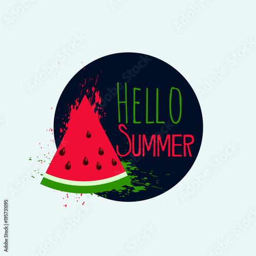 hello summer watermelon background design