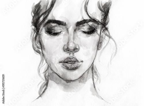 Aluminium Anna I. dreamer. beautiful woman. fashion illustration. watercolor painting