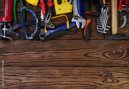 Tools on wood  background - 195732094