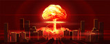 Atomic bomb in city. Symbol of nuclear war, end of world, dangers of nuclear energy. Nuclear explosion - 195733872