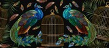 Embroidery peacocks and birds gold cage seamless pattern. Tails of peacocks and birds cage. Classical fashionable embroidery beautiful peacocks. Fashionable template for design of clothes - 195733876