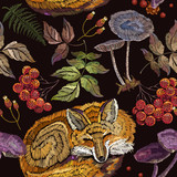 Embroidery sleeping fox and mountain ash, mushrooms, forest herbs seamless pattern. Fashionable template for design of clothes. Classical embroidery. Red fox sleeping in autumn forest - 195734284