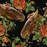 Embroidery horse head and wild roses flowers seamless pattern. Fashionable template tapestry flowers renaissance. Classic style embroidery, horse and beautiful dogrose pattern - 195734654