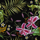 Embroidery palm leaves and orchid exotic tropical flowers. Beautiful tropical embroidery, summer orchids flowers. Template for clothes, t-shirt design