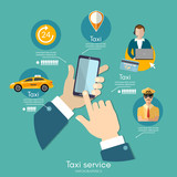 Taxi service infographic. Call book a taxi to the city template. Yellow taxi cab. Hands with smartphone and taxi application - 195735637