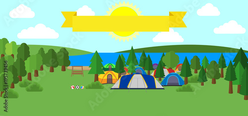 Staande foto Lichtblauw tourist tent and green meadow, on a cloudy sky. Summer camping. Natural landscape. Outdoor activities. Vector illustration.