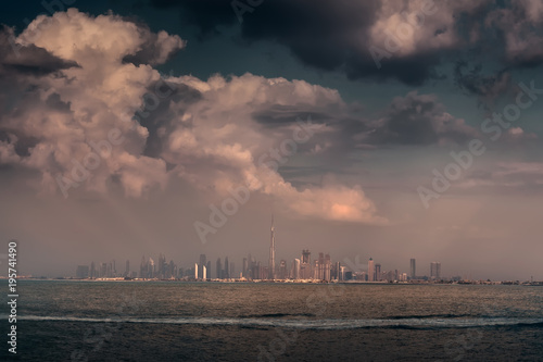 Dubai downtown skyline panorama at beautiful day