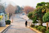 Woman running in Yongdusan Park in Busan