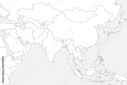 Blank political map of western, southern and eastern Asia. Thin black outline borders on light grey background. Vector illustration.