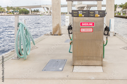 Tuinposter Natuur Gas station for ships and boats in the harbor. diesel dispenser. Energy and power concept.