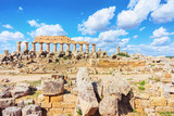 Ruins of Doric acropolis with Temple in Selinunte at Sicily - 195746282